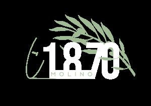 Logotipo de Molino 1870 con letras blancas, rama de olivo y molino antiguo en verde y fondo transparente